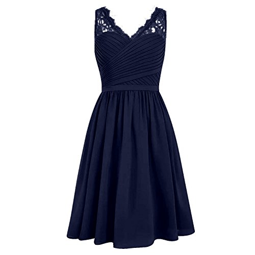 Chiffon V-neck Bridesmaid Dress (Angel Formal Dresses Women's V Neck Chiffon Lace Short Bridesmaid Evening Party Prom Dress(8,Navy))