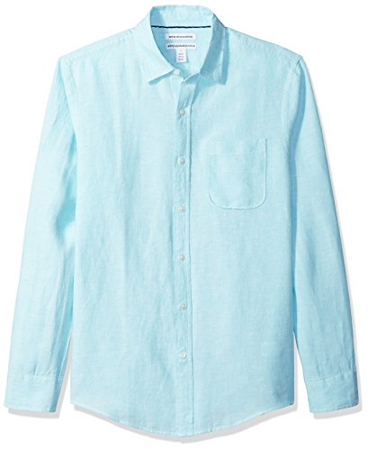 Amazon Essentials Men's Slim-Fit Long-Sleeve Linen Shirt, Aqua, Medium - Aqua Long Sleeve Shirt