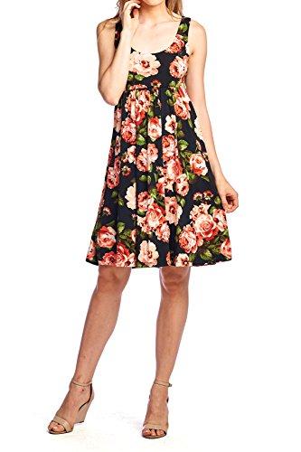 Beachcoco Women's Knee Length Printed Tank Dress (Small, Black/Coral) Empire Waist Tank Dress