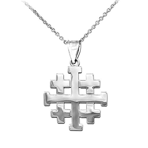 Religious Jewelry by FDJ Polished Finish 925 Sterling Silver Crusaders Jerusalem Cross Pendant Necklace, 18