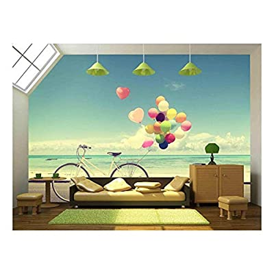 Pretty Style, Premium Creation, Bicycle Vintage with Heart Balloon on Beach Blue Sky Concept of Love in Summer and Wedding