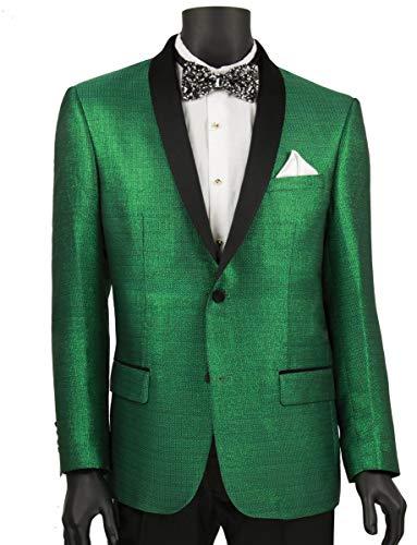 (VINCI Men's Metallic Stripe Slim-Fit Tuxedo Sport Jacket w/Shawl Lapel Peacock Green | Size: M)