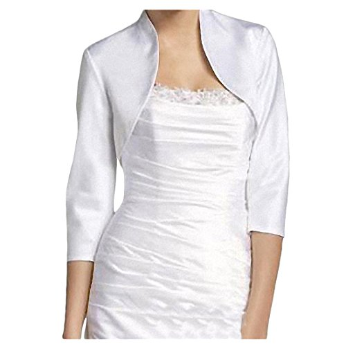 Toogoo 4 Champagne Donna r S Bolero Moda Bianco Coprispalle Manica 3 Oro r1rIxzwq