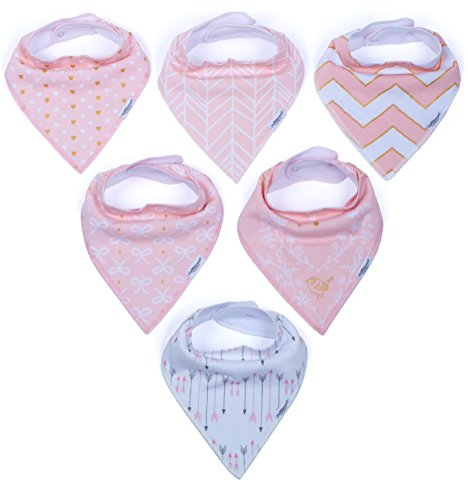 Baby Girl Bandana Drool Bib Set, 6-Pack Ultra Absorbent, Soft and Graceful Organic Bibs, Two Adjustable Nickel-Free Snaps, Perfect Baby Shower Gift Set by ProMommies