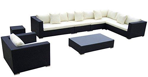 Rattan lounge schwarz grau  Baidani Rattan Lounge-Garnitur Sun-Master, 25-teilig, schwarz ...