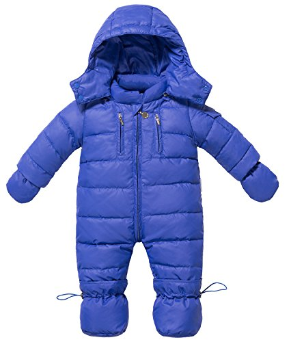 ZOEREA Infant Newborn Baby Hoodie Down Jacket Jumpsuit Pram Snuggly Snow Suit (Label 110/ Age 6-12 Months, Dark Blue)