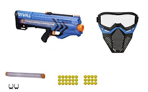 Nerf Rival Blue Team Zeus MXV-1200 Blaster, Spare 12 round Magazine, and Safety Mask Gift Bundle