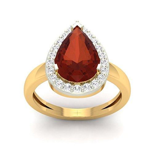 14K Or jaune, 0,3carat Diamant Taille ronde (IJ | SI) Semi précieux Saphir et diamant Bague