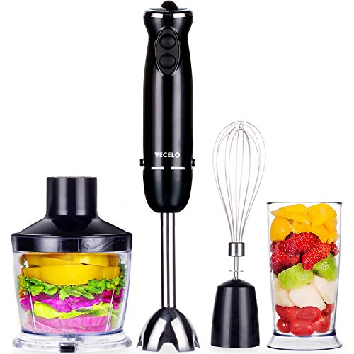 VECELO Premium 4-in-1 Immersion Hand Blender Set with Food Processor Chopper Egg Whisk 500ml Beaker 6 Variable Speeds - Black