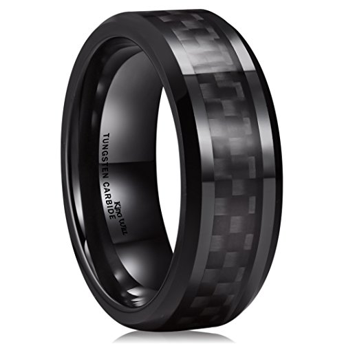 Tungsten Steel Ring (King Will GENTLEMENT 8mm Black Carbon Fiber Inlay Tungsten Carbide Ring Polished Finish Edges Comfort Fit9.5)