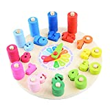 xinYxzR Education Kids Toy Wooden Colorful Clock Counting Stacking Blocks Jigsaw Puzzle Muiltcolor