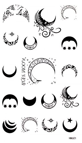 waterproof and non toxic product dimension 6.69x3.74 different shape black and white moons, stars and suns fake temporary tattoos by InterRookie (Star Tattoos Moon)