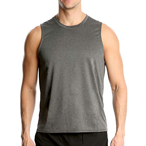 Fort Isle Men's Athletic Gym Tank Tops - L - Light Gray - Quick Dry Sleeveless Muscle Tee Shirts