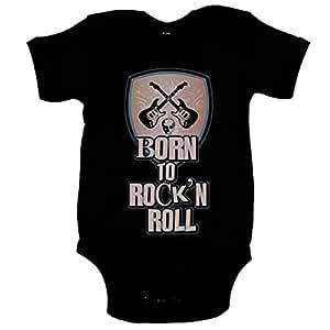 Body bebé Born To Rock and Roll nacido para el Rock and Roll - Negro, 6-12 meses