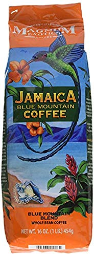 Jamaican Blue Mountain Coffee Blend, Whole Bean - Medium Roast, Fresh Strong Arabica Coffee - Rich And Smooth Flavor - Magnum Exotics, 32 ounce Bag (Pack of 2)
