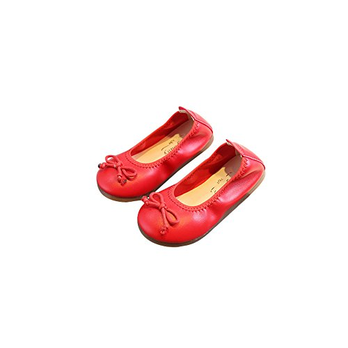 Girls Casual Flats Ballet Flats Folding Shoes Dancing Egg Rolls Boat Shoes(Red 32/1 M US Boys -