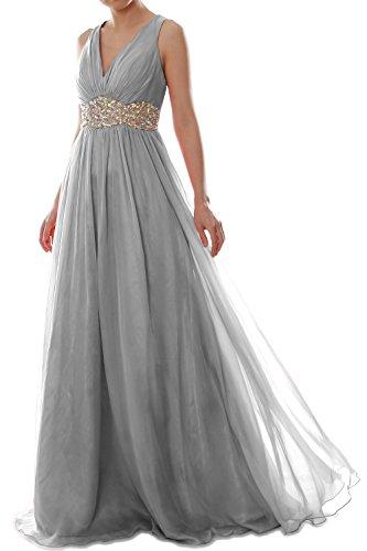 Long Dress Women Formal Ball Wedding Prom MACloth V Chiffon Grau Gown Straps Neck fKZaX