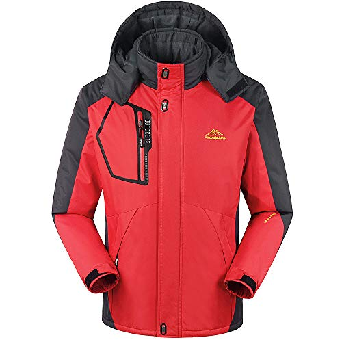 Realdo Couple Sport Coat, Mens Womens Winter Outdoor Cashmere Thickening Zipper Hoodie Jacket(3X-Large,Red1) ()