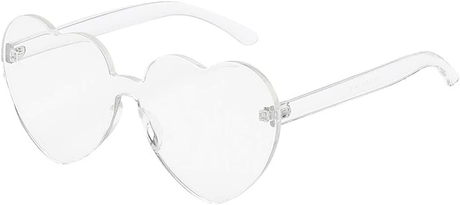 Yliquor Heart Shaped Rimless Sunglasses Transparent Candy Color Frameless Glasses Sports Fishing Driving Sun Glasses for Men//Women