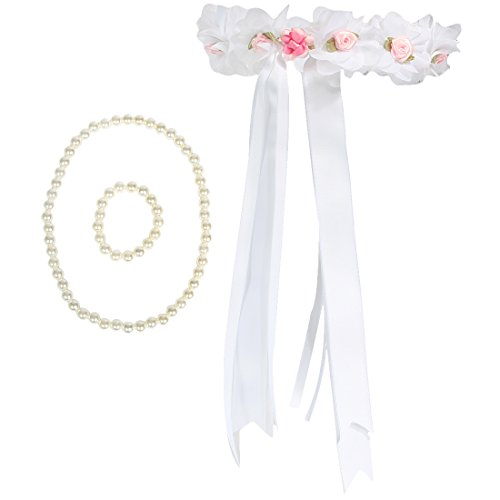 kilofly Flower Girls Wedding Floral Wreath Headpiece + Necklace Bracelet Set (Headpiece Set)
