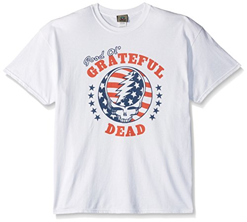 Liquid Blue Men's Plus Size Grateful Dead Syf Independence Stars and Stripes Short Sleeve T-Shirt, White, - Dead Heavyweight T-shirt Grateful