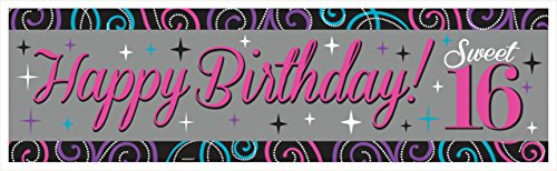 Chic Sweet Sixteen Birthday Celebration Plastic Giant Sign Banner Party Decoration (1 Piece), Multi Color, 65