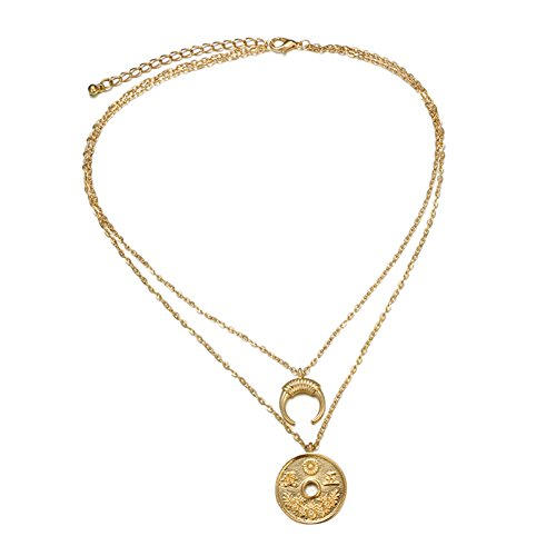 Horn Beads Golden Horn (Guoainn Clearance Deals 2018 Retro Simple Coin Moon Horn Pendant Double Layers Necklace Jewelry for Women Girls)
