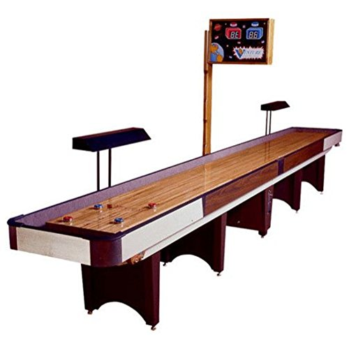 Classic Coin-Op Shuffleboard Table – Gaming Board With Playing Accessories – Gameroom Furniture – Wood Game Table - 16' & Williamsburg - 16 Light Williamsburg