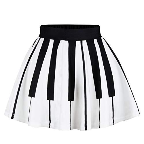 Happy Cherry Kids Girls Striped Pleated Skirt Elastic Waist A Line Flared Mini Skirt School Uniform M