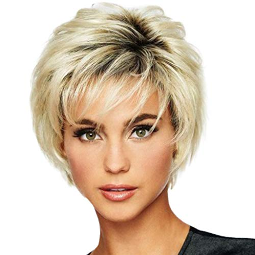 Hot Sale !!! Short Straight Synthetic Extensions Wigs Female Gold Natural Hair Fibe Wigs for for Cosplay,Party&Daily Use Costume Wig