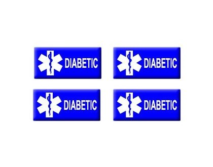 Diabetic Diabetes - Set of 4 Stickers - Apply to any surface ()