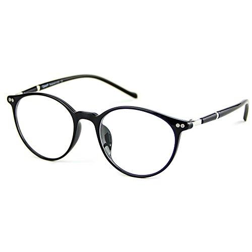 Cyxus Blue Light Filter Lightweight TR90 Glasses for Computer Use, Anti Eye Strain Headache Video Eyewear (Black Round - Glasses Canada Video
