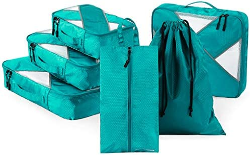 6個の荷物梱包オーガナイザー、梱包キューブ、軽量旅行保管袋荷物トラベルキューブ衣類ソーティングパッケージ,グリーン