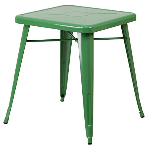Single Piece Square Metal Green Dining Table, Contemporary Style,Solid Black Finish, Assembly Required, Retro-Modern Look, Versatile Cafe Table, Engraved Designer Print, Commercial & Residential Use