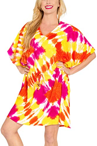 LA LEELA Rayon Tie Dye Casual Dress Girls OSFM 14-28 [L-4X] Orange_3359