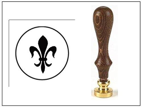 (Wax Seal Stamp with Brown Wood Handle and Round Die-Fleur De)