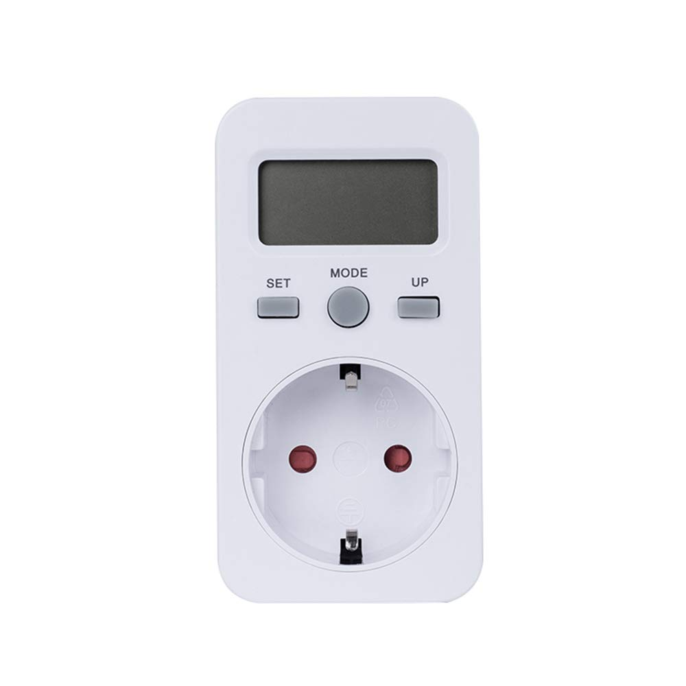 medidor de consumo de energ/ía el/éctrica con pantalla LCD medidor de costo de energ/ía Medidor de consumo de corriente del medidor de energ/ía protecci/ón contra sobrecarga potencia m/áxima 3680W
