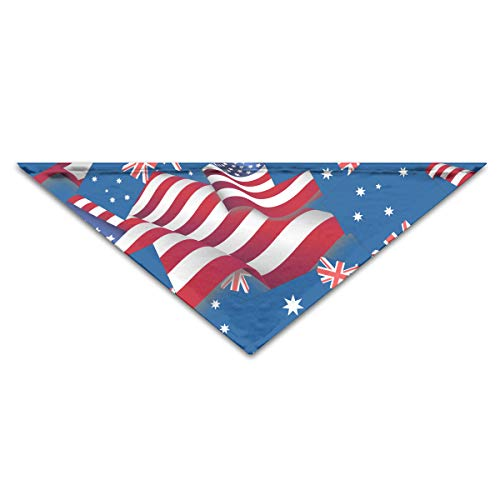 OLOSARO Dog Bandana Australia Flag with America Flag Triangle Bibs Scarf Accessories for Dogs Cats Pets Animals -