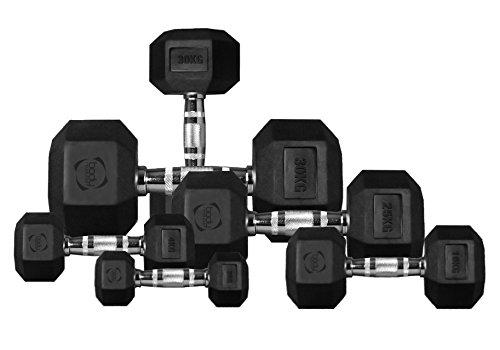 Body Revolution HEX Hantel – Gummi eingeschlossen hexagonale Gusseisen Hantel gewichteset (1 bis 40 kg) - Paare, Singles und Kombinationen