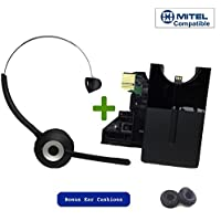 Mitel Wireless DECT Headset for Mitel MiVoice 6930, 6940 Phones | This headset is only compatible with 6930 and 6940 Mitel models | Includes Two Bonus Soft Leatherette Cushions