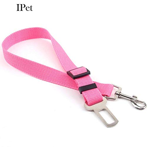 UltraZhyyne - 6 Colors Adjustable Vehicle Car Pet Dog Safety Seat Belt Pet Harness Restraint Lead Leash Clip Safety Supplies Accessories[Pink]
