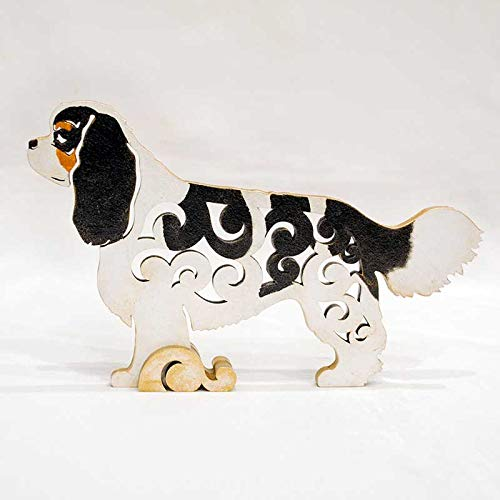 Cavalier King Charles Spaniel black and tan dog figurine, dog statue made of wood (MDF), statuette hand-painted