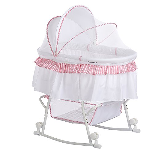 Dream On Me Lacy Portable 2-in-1 Bassinet and Cradle - Pink/