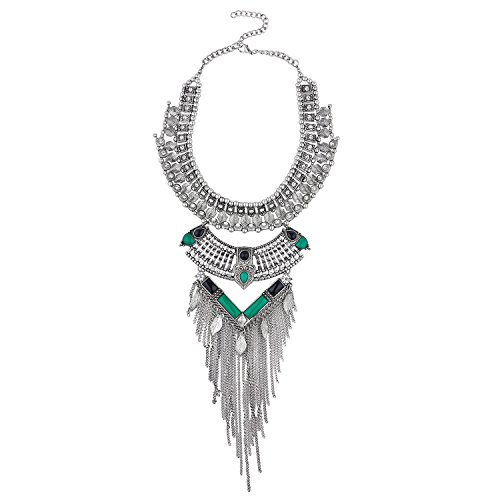 Lux Accessories Boho Burnish SilverTone Gemstone Statement Chain Fringe Necklace (Bib Waterfall Necklace)