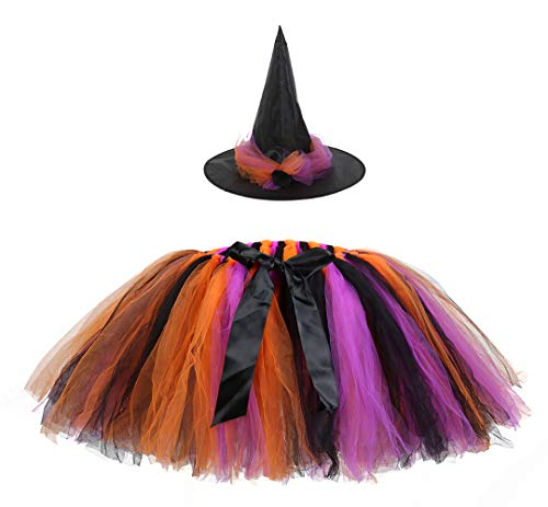 Tulle Witch Costume (AQTOPS Women Tutu Skirt with Witch Hat Halloween Wizard Tutus Free)