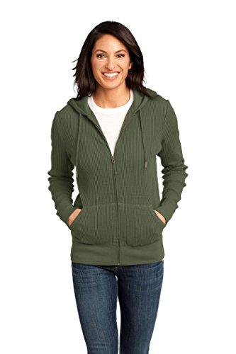 District Made Ladies Thermal Zip Hoodie Sweatshirt-L (Army)