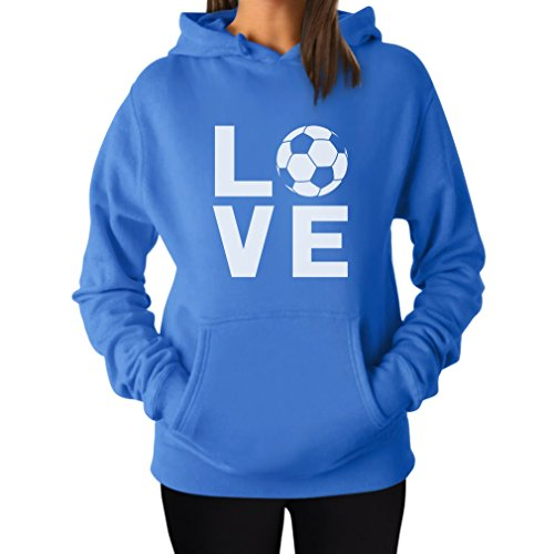 TeeStars I Love Soccer - Perfect Gift For Soccer Players/Fans Women Hoodie Small California Blue (Soccer Soccer Sweatshirt)