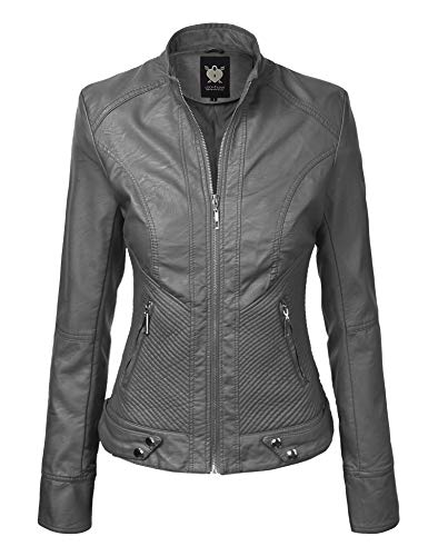 Lock and Love LL WJC747A Womens Dressy Vegan Leather Biker Jacket M Grey (Gray Leather Jacket)