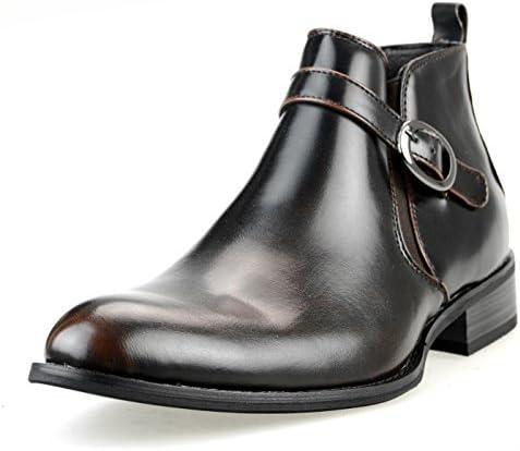 撥水加工 低反発インソール ビジネスシューズ ショートブーツ メンズ ロングノーズ サイドベルト サイドジップ プレーントゥ紳士靴 【MPB1911-1】