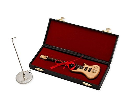 Broadway Gifts 7 in. Natural Wood Bass Electric Guitar Instrument Miniature Replica with Case